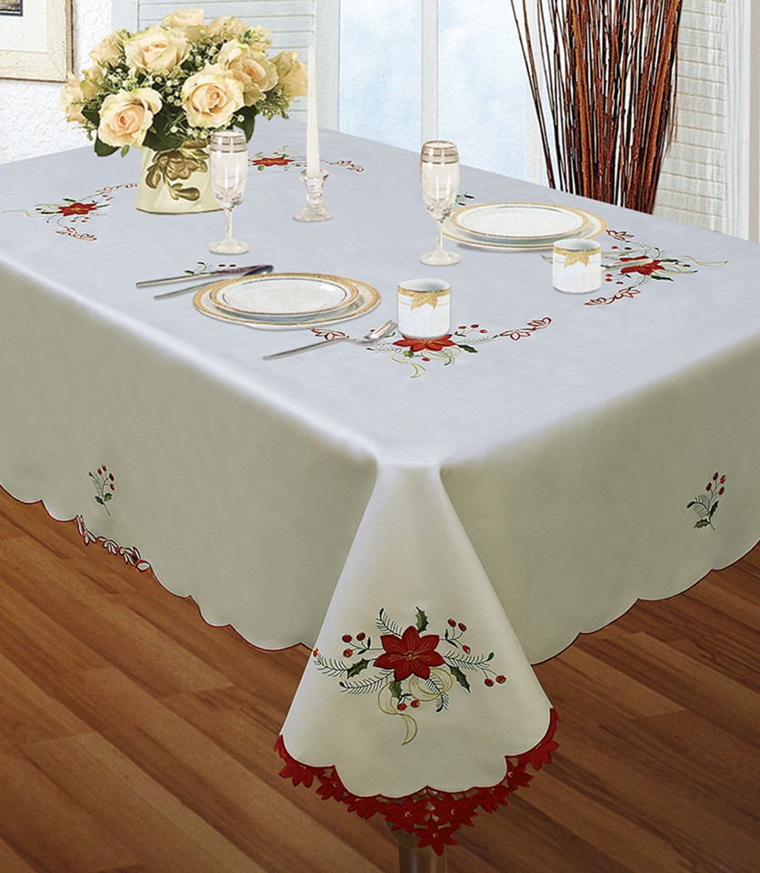 Embroidered Holiday Tablecloth