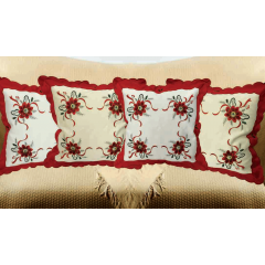Embroidered Holiday Cushion Cover